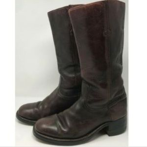 Vtg FRYE Campus Classic Dark Burgundy Red Boots 10